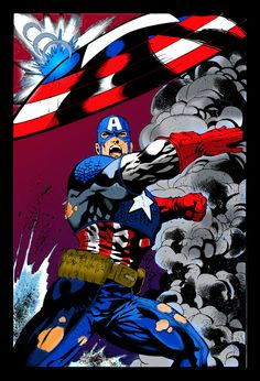 Ultimate Captain America Lineart by Ron Adrian Colors By Me