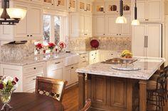 Light Color Granite Kitchen Traditional with Alder Alder Cabinetry Alder