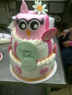 Owl Cake for girls 1st birthday