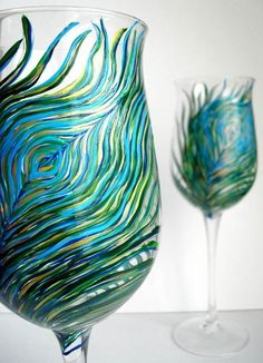Hand-painted Peacock Wine Glasses