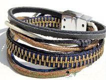 Reißverschluss Armband mit  Leder und Baumwolle
