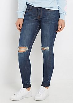 Torn Knee Released Cuff Jegging