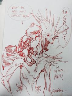 Rocket Raccoon and Groot by Sara Pichelli Comic Book Artists, Comic Artist, Comic Books Art, Cartoon Sketches, Drawing Sketches, Drawings, Sara Pichelli, Gaurdians Of The Galaxy, Comic Games
