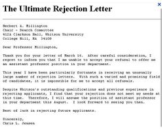 The ultimate rejection rejection letter