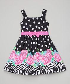 Look what I found on #zulily! Black Polka Dot Floral Dress - Infant & Girls by Sugah & Honey #zulilyfinds
