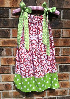 Red & Lime Green Pillowcase Dress
