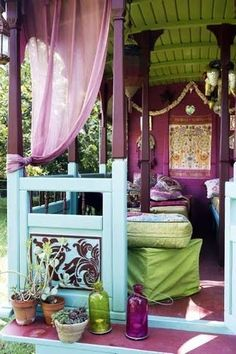 Colorful Porch at Inspire Bohemia: Bohemian Bungalows and Gypsy Caravans!