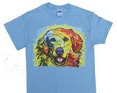 Golden Retriever (Technocolor) T-shirt by Animal T-shirt Shop Sizes Small thru 6X-Large
