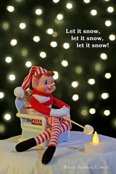 (Vintage) Elf on the Shelf - toasting marshmallows on a snowy night | Flickr - Photo Sharing!