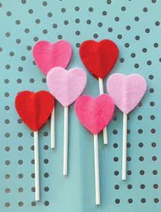 "Felt Heart ""Lollipops"""
