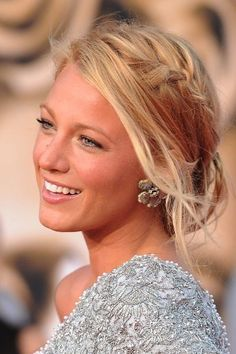 Blake Lively's braided updo - perfect summer wedding guest hair!