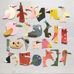 Super fun idea for letter art with kids by Sabine Timm VI Collages, Collage Art, Paper Art, Paper Crafts, Recycled Art Projects, Ecole Art, Paper Birds, Collage Illustration, Preschool Art
