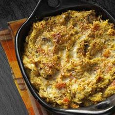 Spaghetti Squash Casserole Bake-Made this tonight but tweaked it a little...I added ground turkey and browned it along with the onions. I then used 1/2 cup fat free plain greek yogurt instead of ricotta cheese. Lastly, substituted spinach for the mushrooms since the hubby won't touch them. Soooo creamy and delish!! : o ) Pretty healthy too!