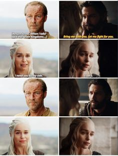 Game of Thrones - Daenerys Targaryen, Jorah Mormont & Daario Naharis Daenerys And Daario, Emilia Clarke Daenerys Targaryen, Game Of Throne Daenerys, Khaleesi, Ser Jorah Mormont, Game Of Trones, The North Remembers, Game Of Thrones Quotes, Mother Of Dragons