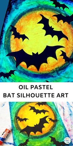 Oil Pastel Bat Silhouette Halloween Art Create gorgeous Oil Pastel Bat Silhouette Art with the kids this Halloween. An easy Halloween art project for kids that exploring blending colours. This project comes with a free printable bat template