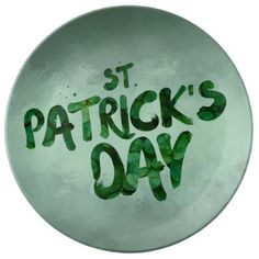 St Patrick's Day Green Clover Irish Celtic Porcelain Plate - diy cyo customize create your own personalize