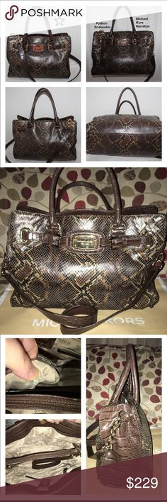"""Michael Kors Hamilton Python Satchel Excellent condition! Yes Excellent! Amazing Hamilton Satchel in Chocolate colored Python! Gorgeous! This bag has 1 zip & multiple slip pockets, the middle divider closes by zipper and the bag closes by magnetic snaps, gold emblem on front and feet, detachable strap is partly gold chain & snake skin for shoulder comfort, double rolled handles (drop is 4"""") No stains, rips or tears! I myself can't see any scratches, anywhere! It measures 14 X 10 X 4🚫no…"""