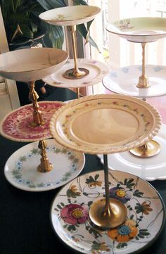 Vintage - plates & candlestick holders from an antique shop. great idea!