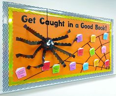 This is so fun! Create a giant spider using trimmers, a web with yarn, and book accents for writing students' favorite books! This is so fun! Create a giant spider using trimmers, a web with yarn, and book accents for writing students' favorite books! October Bulletin Boards, Elementary Bulletin Boards, Halloween Bulletin Boards, Teacher Bulletin Boards, Reading Bulletin Boards, Preschool Bulletin Boards, Holiday Bulletin Boards, Bullentin Boards, Back To School Bulletin Boards