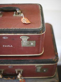 red luggage set  sadieolive Etsy