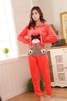 CW17445 Korean style winter cartoon lovely flannel pajamas