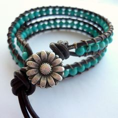 Turquoise beads, brown leather, pewter button www.kab134.etsy.com