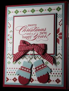 Stamping Inferno - Make a Mitten Card christmas cards Stamped Christmas Cards, Christmas Cards To Make, Christmas Paper, Christmas Greeting Cards, Christmas Greetings, Handmade Christmas, Holiday Cards, Christmas Crafts, Christmas Scrapbook
