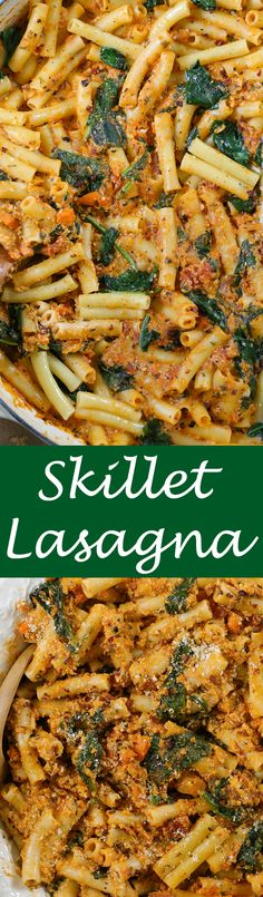 Skillet Lasagna - 30 minute pasta dish made with traditional lasagna flavors. Now made in less time, you're family will love this quick recipe!