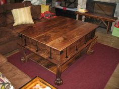 Claro walnut - 3 tier coffee table with a removable top and folding sides SOLD