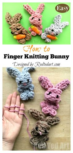 Easy Finger Knitting Easter Bunny Toy Video Tutorial , easy finger knitting osterhasen spielzeug video tutorial , tutoriel vidéo de jouet de lapin de pâques facile à tricoter Finger Knitting Projects, Knitting Blogs, Arm Knitting, Knitting For Kids, Knitting Patterns, Scarf Patterns, Knitting Machine, Crochet Patterns For Beginners, Knitting For Beginners