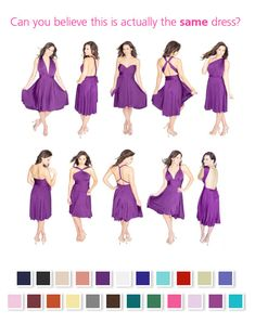 Get a convertible dress for your bridesmaids so they can wear the style that flatters them best!