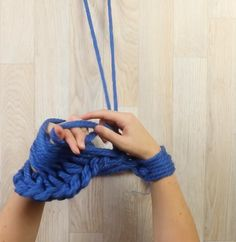 Finger knitting a scarf