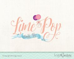 Premade Logo - Lime Pop - Candy shop - Cake Pops - Sweets - Calligraphy Logo - Logo for a Small Business