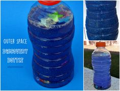 Make a mesmerizing outer space discovery bottle! This fun sensory activity is great for a preschool outer space theme.