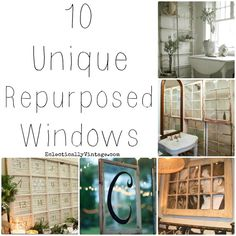 10 Unique Repurposed Windows - very cool ideas!eyes out for 24 pane! Vintage Windows, Old Windows, Windows And Doors, Rustic Windows, Recycled Windows, Antique Windows, Furniture Projects, Home Projects, Diy Furniture