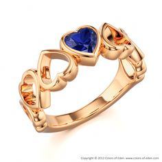 Valentine Ring with Heart shaped Blue Sapphire in 18k Rose Gold.