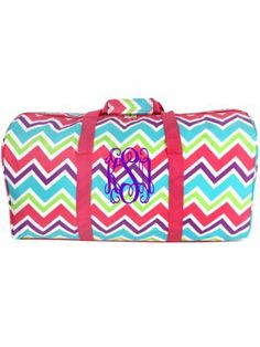 Pink and Light Blue Chevron 22 Duffle Bag with Pink Trim