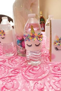 Party Birthday Decoration Water Bottles Ideas For 2019 - Geburtstag Unicorn Themed Birthday Party, Girl Birthday Themes, 1st Birthday Parties, Birthday Party Decorations, Party Favors, Birthday Ideas, Unicorn Baby Shower, First Birthdays, Party Time