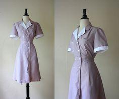 Vintage 50s Dress / Pinstripe Waitress Uniform / 1950s Shirtwaist Dress by mousevoxvintage, $36.00