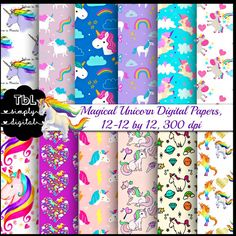 Magical Unicorn Digital Paper Pack 14 12by12 by TbLSimplyDigital