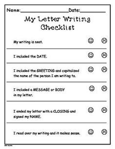 Friendly letter checklist friendly letter pinterest friendly writers workshop letter writing templates more grade 1 2 spiritdancerdesigns Gallery