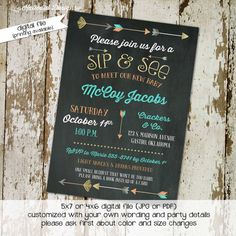 sip and see invitation gender neutral gender reveal baby sprinkle chalkboard tribal arrows girl boy coed (item 1259) shabby chic invitations