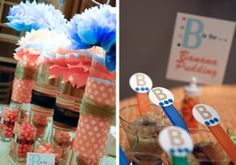 centerpieces:   Bump Smitten: Real Baby shower: B is for Baby Shower