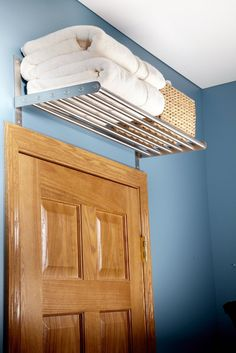 Less industrial shelf but this idea also do in closet