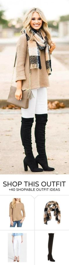 #winter #fashion / Printed Scarf / Camel Knit / White Skinny Jeans / Black OTK Boots