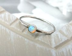 Sterling Silver Opal Stacking Ring Opal by JewelleryByAvigail