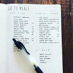 """#planwithmechallenge 12.16 Meal Planning My list of Go To Meals inspired by @tinyrayofsunshine  This spread lists our favourite meals by time taken to cook - super handy for that """"I don't know, what do you want"""" moment! * * * Leuchtturm1917 A5 Soft Cover Black Dot Grid * Pilot G-2 0.38mm Black"""