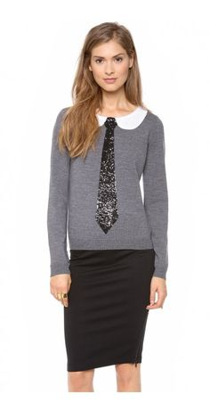 DELRAY SWEATER - $79.79  A sequined faux collar and tie add a charming touch to a fine-knit alice + olivia sweater. Ribbed edges. Long sleeves.
