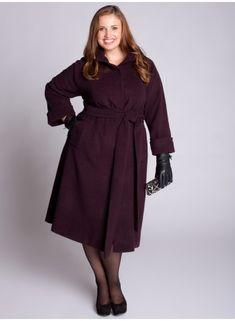 wool coat with self belt