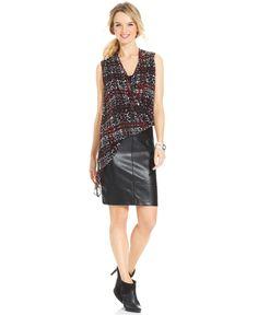 Karen Kane Black and Red Sleeveless Printed Asymmetrical-Hem Blouse & Faux-Leather Pencil Skirt - Women - Macys #Karen_Kane #Fashion #Macys